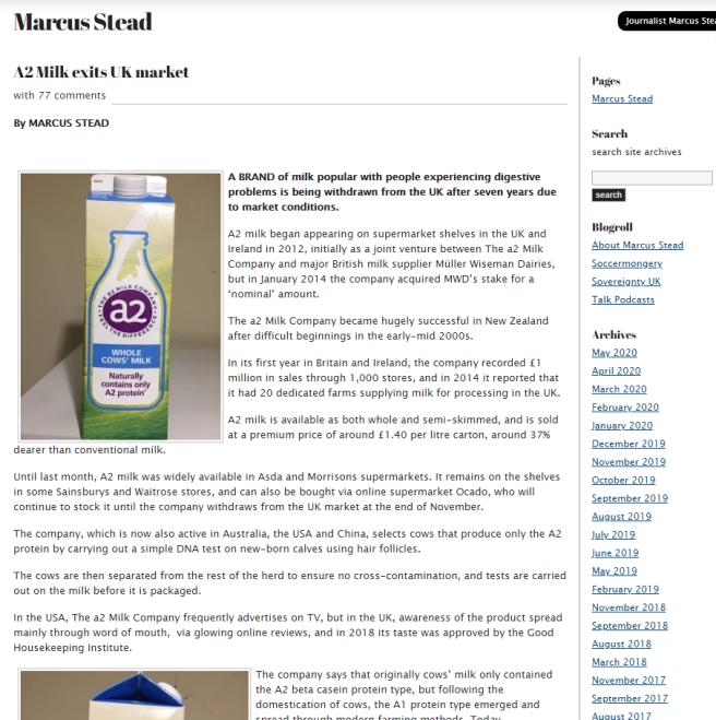 A2 Milk Screenshot